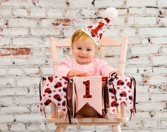 Girls birthday hat - ladybug theme birthday party - party hat - photo prop - first birthday hat - hat and banner - red ladybug -pink ladybug