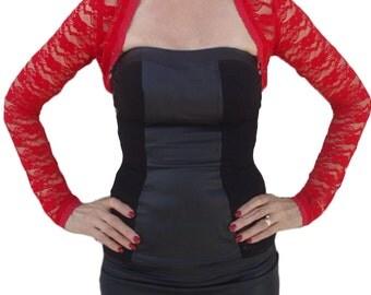 Long Sleeve Stretch Lace Cropped Bolero Shrug Jacket