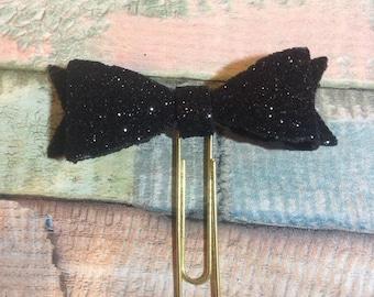 Black Glitter Foam Bow Paperclip