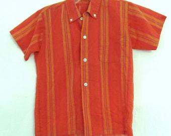 A Boys Vintage 60's,Striped Short Sleeve MAD MEN Hipster Shirt.M(8)
