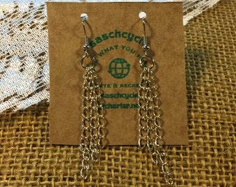 Silver colored chain long dangle earrings, hooks