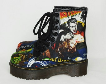 Halloween shoes, custom shoes, Horror classic films, vampire, werewolf, women shoes, gothic shoes, alternative, oddities, Dracula shoes