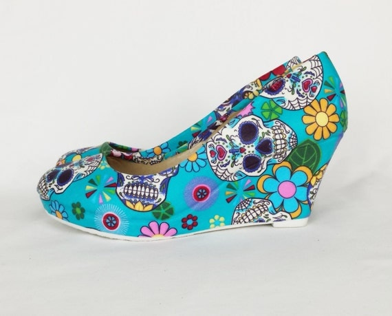 Blue sugar skull shoes. Turquoise candy skull wedge. Custom