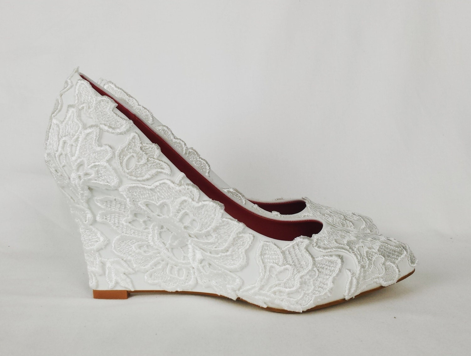 Bridal Lace Wedge Wedding Lace Fabric Cover Wedge Bridal