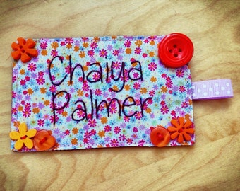 Personalised Bag Tag - Children's Name Tag - Kids Name Keychain - Girls Zipper Pull - Backpack Name Tag - Luggage Name Tag - Fabric Tag