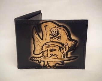 Pirate Skull Bifold or Trifold Leather Wallet B1818