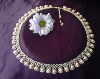 Pale Pink Pearl Necklace, Bridal Necklace, Beaded Choker, Regal Style Necklace, Prom
