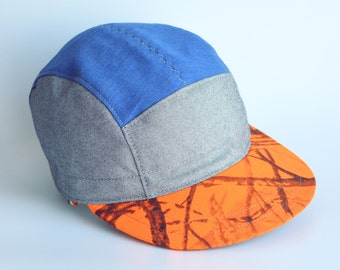Orange camo snapback hat, 5 panel hat, Swag cycling cap, Strapback cap, Hipster cap, Turific