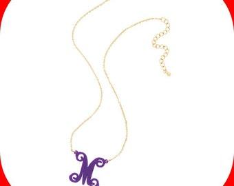 Monogram Single Initial Acrylic Necklace