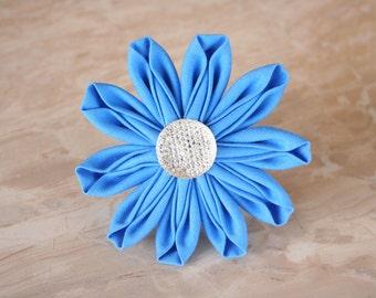 Light Blue Daisy Fabric Kanzashi Flower Dog Collar Accessory