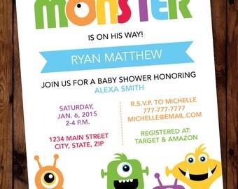 Monster Baby Shower Invitations, Little Monster Baby Shower Invitations