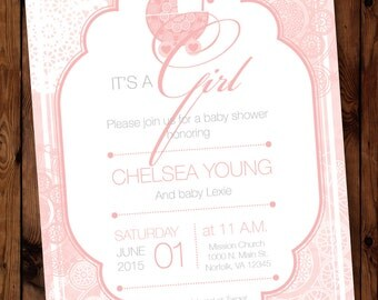 Pretty in Pink Baby Shower Invitation, Baby Girl Shower Invitation, Pink Bassinette Baby Shower Invitation