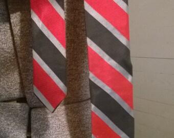 Vintage skinny tie-red black and silver stripes