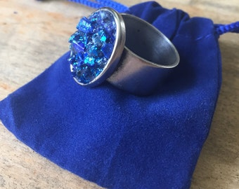 Faux Druzy Ring , Blue, adjustable size