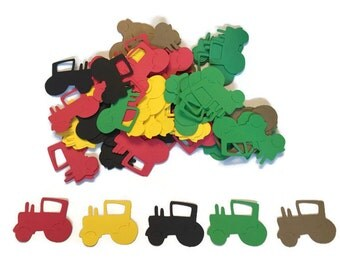 100 Assorted Tractor Confetti, Die Cut tractor, Baby Shower, farmTheme Party, Baby Boy, Farm Birthday Party, Tractor Birthday, Tractor Theme
