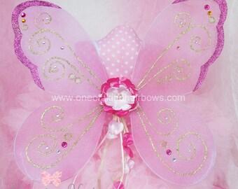 Fairy Wings - Pink & Gold Fairy Wings - Faerie Wings