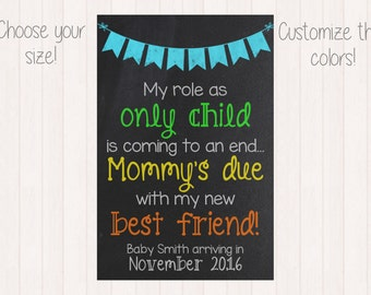 Only Child Expiring Chalkboard Annoucement / Pregnancy Announcement / Customized Printable