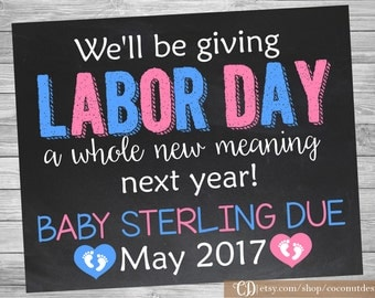 Labor Day Themed Pregnancy Announcement / Chalkboard Pregnancy Announcement / Pregnancy Reveal / Labor Day Pregnancy / Digital File