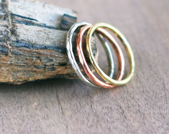 Thin Stacking Ring in copper, brass, german silver- Skinny Band ring of copper, brass, german silver - Simple ring - Pick any one ring