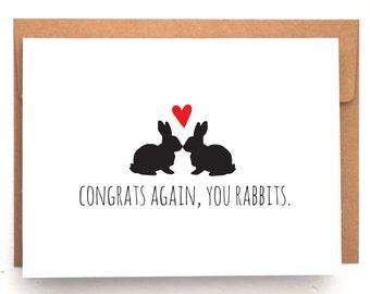 Funny card, Pregnancy card, Congrats on pregnancy card, funny pregnancy card, unique cards, sarcastic card, rabbit card