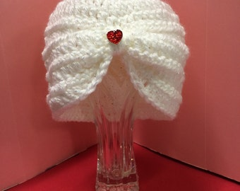 White Sparkly Baby Hat with Red Blingy Heart
