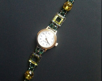 "Mechanical watch ""Olivine"" Swarovski crystal,"