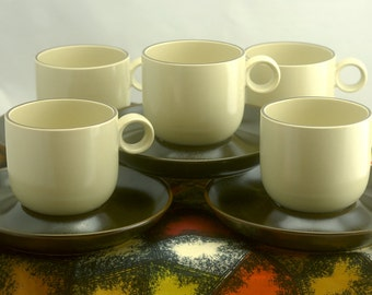 Vintage Rosenthal Studio Line Stoneware - 5 Cups and 5 Saucers