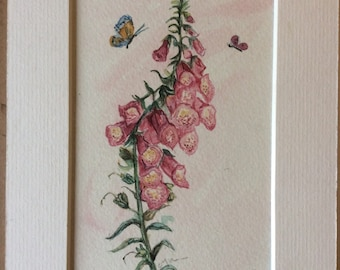 Gift, spring, foxgloves in watercolour. 14x10 cm. Small and pretty.