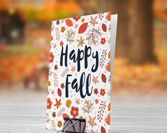 Happy Fall Orange Autumn Leaves 5x7 inch Folded Greeting Card - GC1100