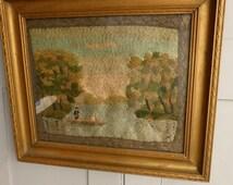 Antique framed embroidery landscape boating scene