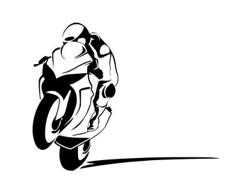 Motorcycle Racer - Sportbike - Power Wheelie Biker - Wall Decals - Your Choice of Color Superbike Super Bike Motocross