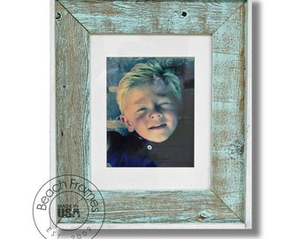 8 x 10 Picture frame - Sea Mist washed Reclaimed Wood Shabby Chic Picture Frame with Matting (CL2010-SMT)