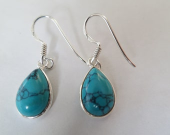 Turquoise  earrings, tear shape, set in 92.5 sterling silver,free shipping