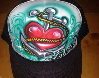 Airbrushed Anchor Hat