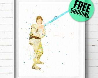 Star Wars Luke Skywalker print, Luke poster, Star Wars print, abstract, watercolor, Luke Skywalker poster, Star Wars wall art [289] décor