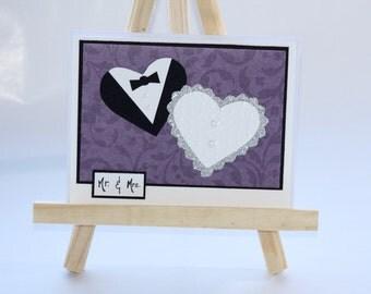 Mr. & Mrs. Wedding Card, Bride and Groom Hearts, Handmade Wedding Card