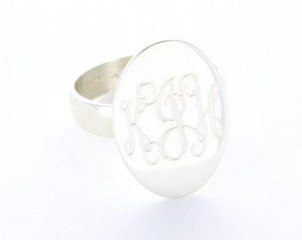 Engraved Monogram Sterling Silver Ring
