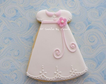 Baby Girl First Communion /Baptism Dress Cookie - 12 Cookies - First Communion/Baptism Cookies