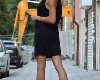 Handmade Extravagant Short Black Viscose Jumpsuit, Women's Sleeveless Jumpsuit Romper, Loose Jumpsuit by SSDfashion