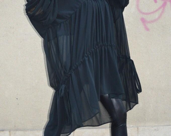 Extravagant Black Chiffon Shirt, Maxi Asymmetric Long Tunic, Oversize Tunic, Plus Size Top By SSDfashion