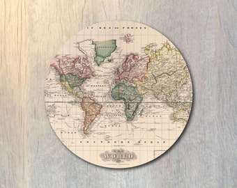 Vintage World Map Mouse Pad - Travel Computer or Office Work Station Decor