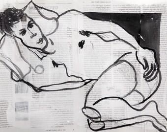 """Erotic painting, sketch, collage: """"Frank wants to sleep"""", original artwork, Berlin, 2016"""