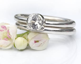 White Sapphire Engagement Ring Set in Sterling Silver - Handmade to Size