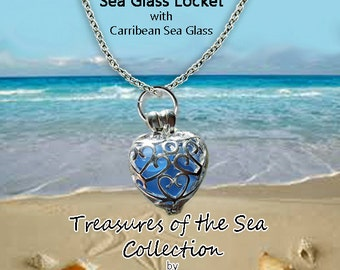 1 Sea Glass Locket Necklace with Carribean Sea Glass on a Stainless Steel Chain