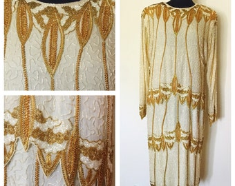 Vintage 80s, does 20s, Cream Color Silk Heavy Beaded Dress, 1920's inspired, Flapper Dress, Great Gatsby dress, 1920's style dress, Size: XL