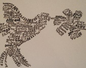 Fluttering Hummingbird Word Drawing