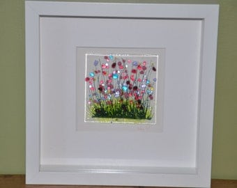 Handmade Fused Glass Art - Wild Flowers Picture