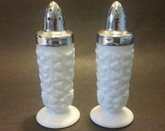 Westmoreland Milk Glass Beaded Grape Salt and Pepper Shakers