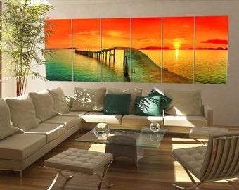 Large sunset over sea pier panorama panoramic wall art canvas art sunset over sea pier prints large wall decor print Office Decor