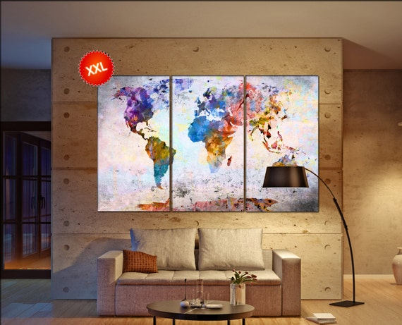 World map art  print on canvas wall art Large World map art art artwork World map art World Map Print home office decoration